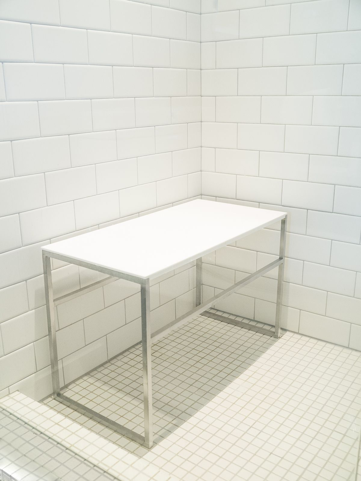 Stainless steel and solid surface shower bench | shower stalls ...