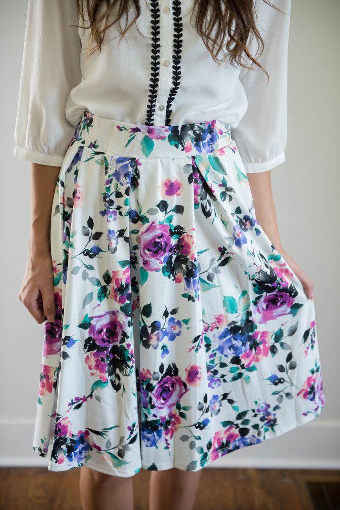 Purple Floral A-Line Skirt | W2W | Pinterest | Colors, Shops and ...