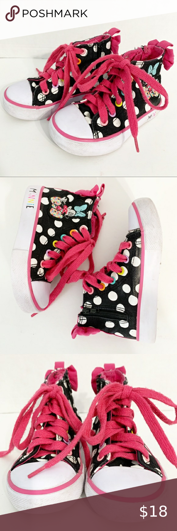 Disney Minnie Mouse Toddler Girl's Casual Dotty High Top Sneaker Gray Pink Zip
