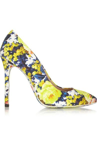 091f6dc2f645 MSGM Floral-print canvas pumps