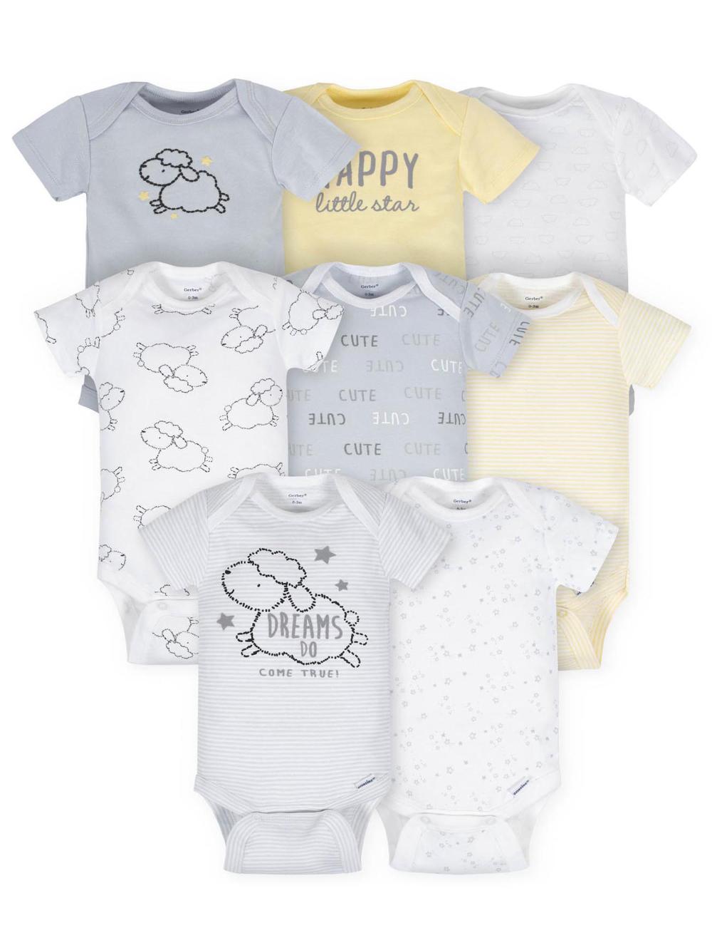Gerber Gerber Baby Boy Or Girl Gender Neutral Onesies Short Sleeve Bodysuits 8 Pack Walmart Com Neutral Baby Onesies Gerber Baby Short Sleeve Onesies