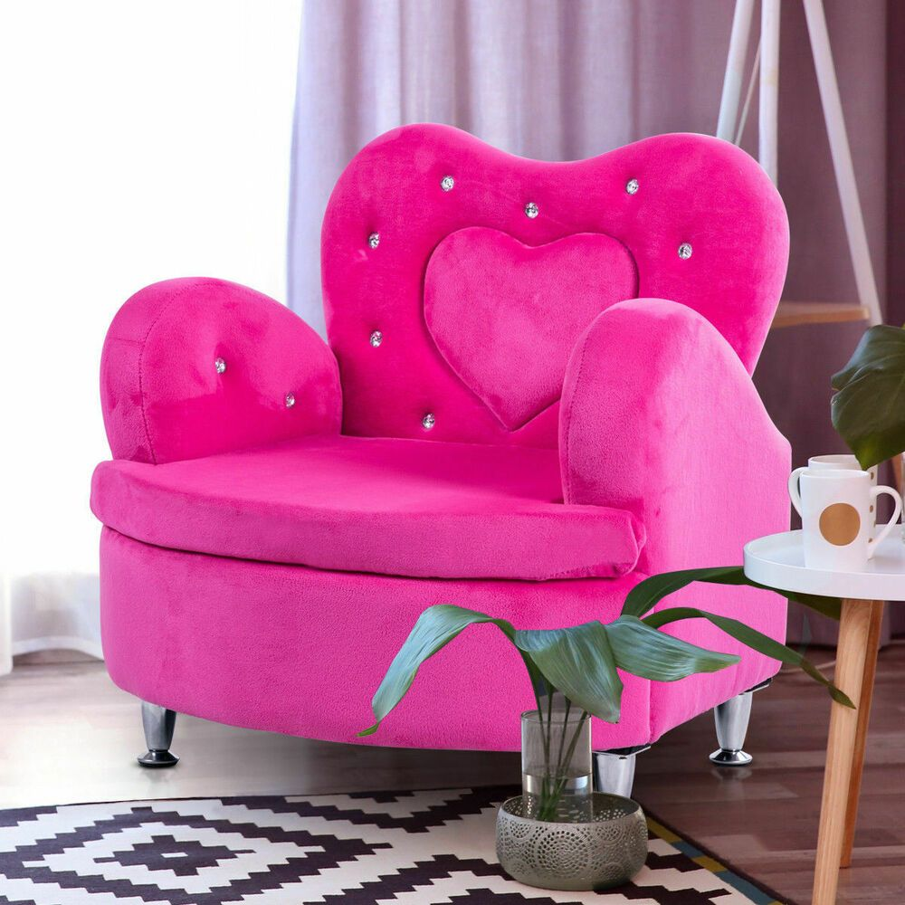 Girsl pricess sofa chair pink soft velvet couch toddler