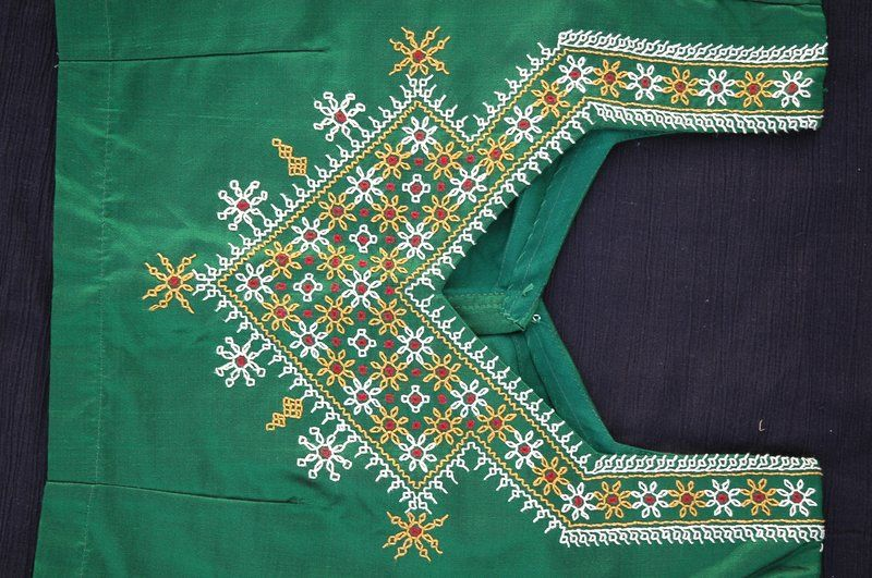Kasuti on green choli yoke embroidary pinterest
