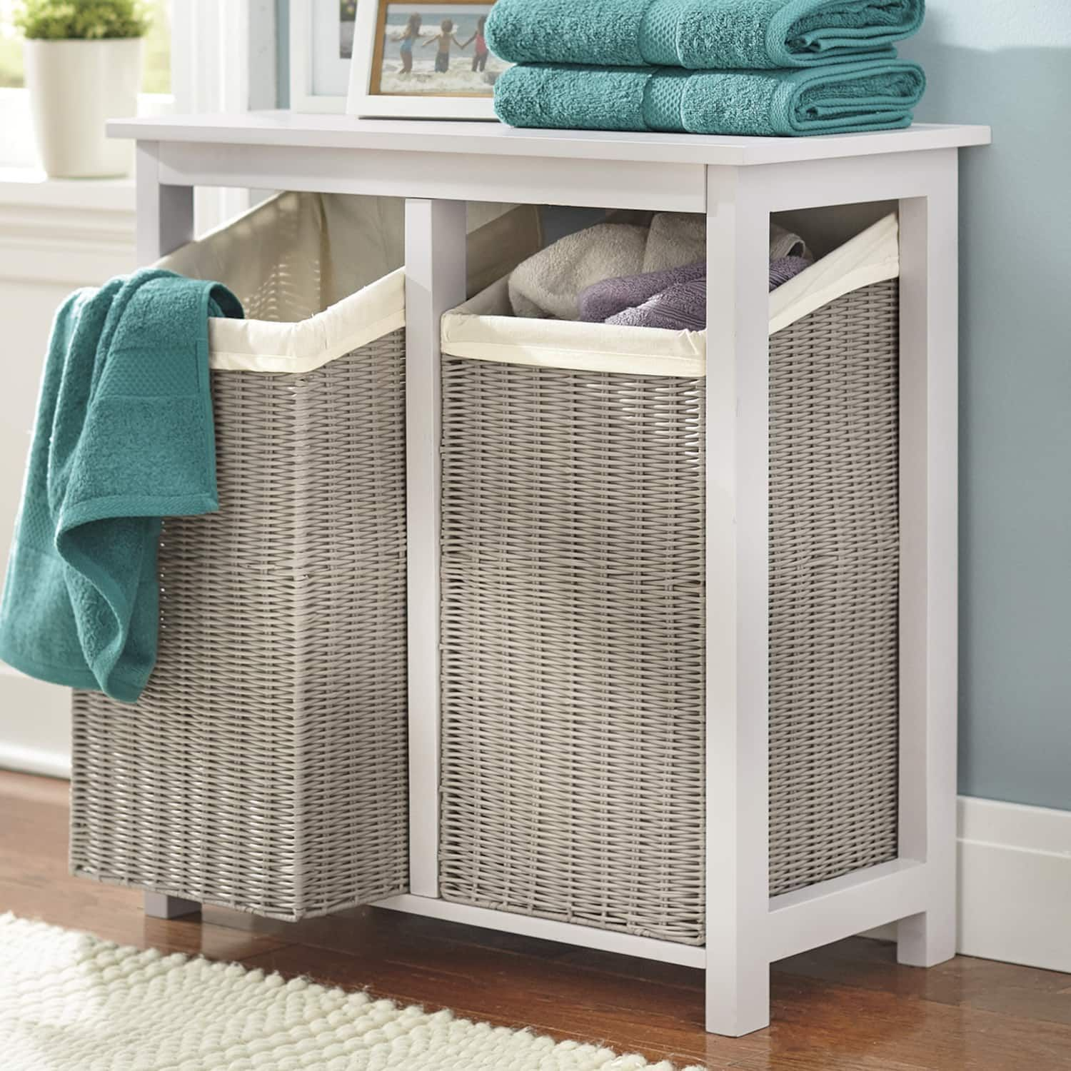 Double Hamper Laundry Room Storage Shelves Laundry Hamper