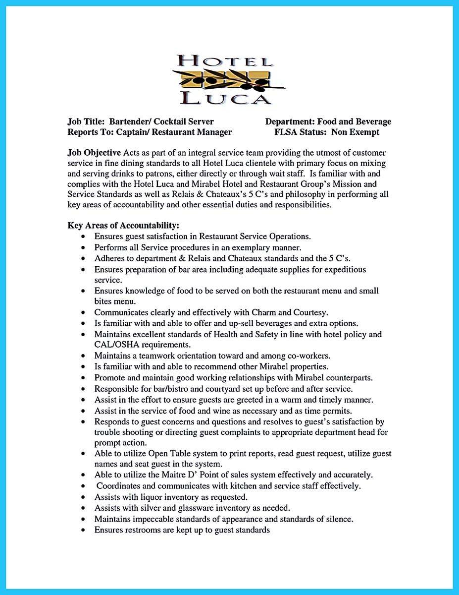 Resume Bartender Delectable Bartenders Resume Writing Service We ...