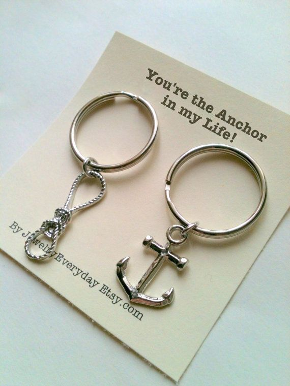 Valentine Gift For Couples, Best Friend, Anchor And Rope Key Chain Set,  Couple