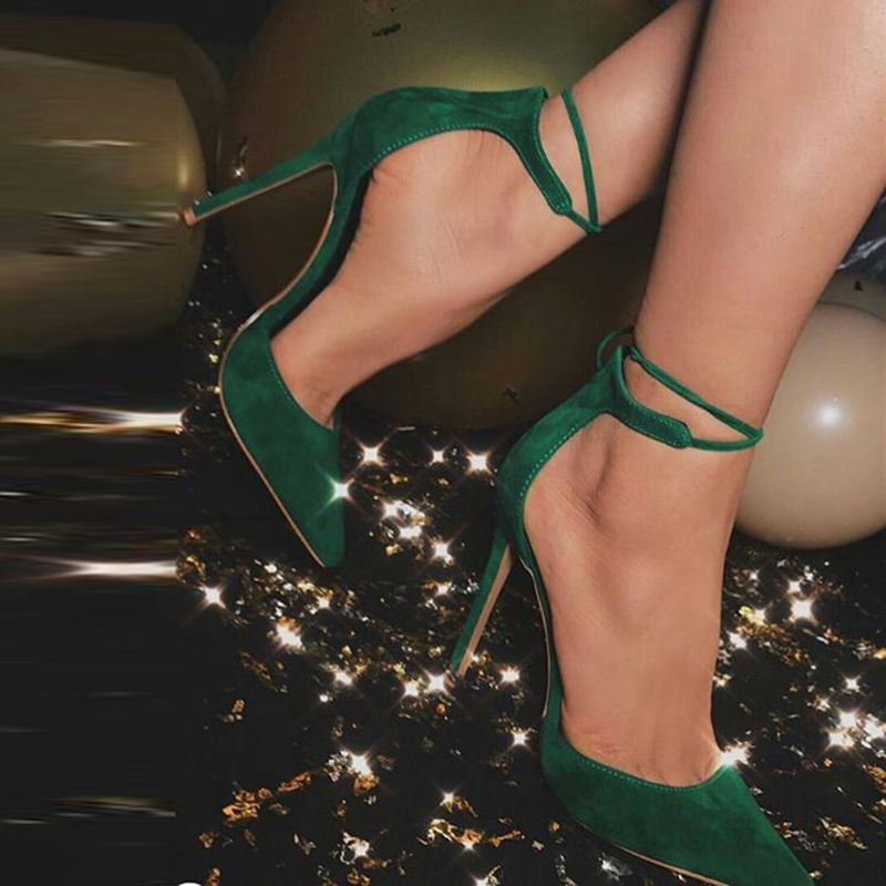 Kelly Green Pointed Toe Strappy Tie Up