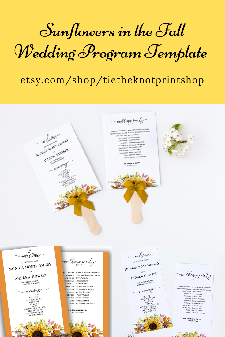 Sunflower Wedding Program Template Diy Wedding Program Fall Wedding Decor Diy Wedding Fan Instant Download Sf100 Wedding Programs Template Wedding Programs Diy Wedding Programs