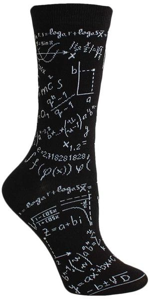 Dear algebra, please stop asking us to find your x. She doesn't want to talk to you.  Black crew length socks that look like a blackboard covered with chalk equations.  Fits women's shoe size 4-10.
