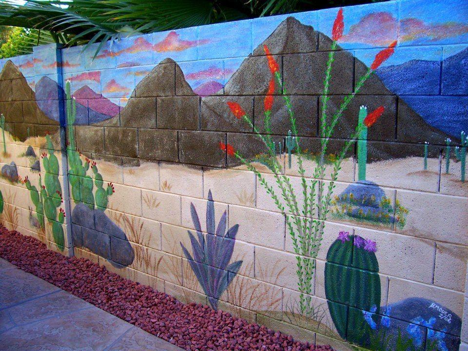 Mural On Cinder Block Wall Artistic Joys Cubit Murals For The Outdoors Forum Block Wall Desert Fence Art Outdoor Wall Art Cinder Block Walls