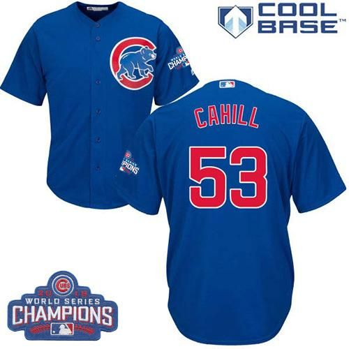Cubs #53 Trevor Cahill Blue Alternate 2016 World Series Champions Stitched Youth MLB Jersey