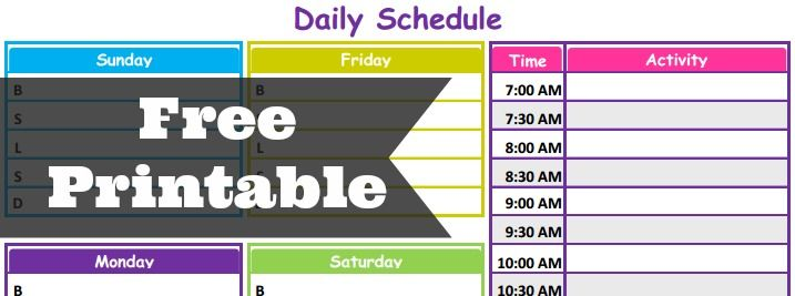Home Life Blog Daily Schedule Free Printable  Free Planner And