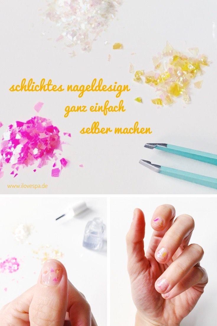 Schlichtes Nageldesign DIY Minimal Manicure Glitter Flakes | Manicure