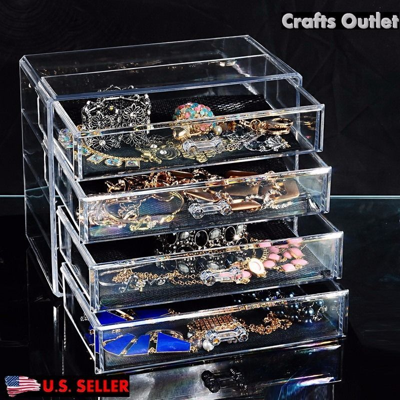 New Acrylic Makeup Cosmetic Jewelry Organizer 4 Layer Drawer Clear