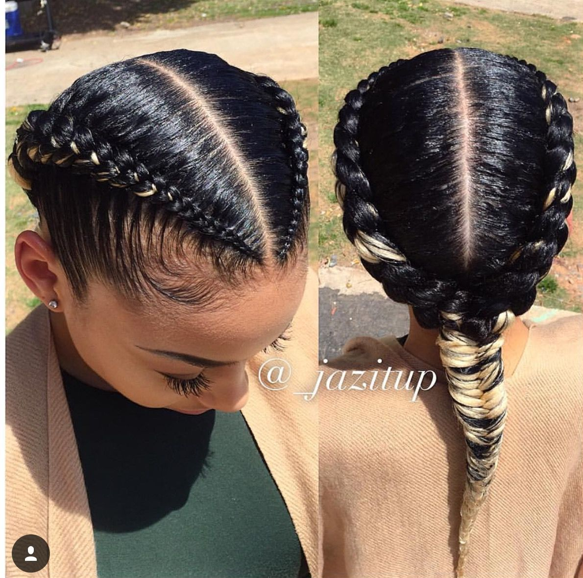 Two Goddess Braids With Fishtail Natural Hair Styles Cool Braid Hairstyles Two Braid Hairstyles