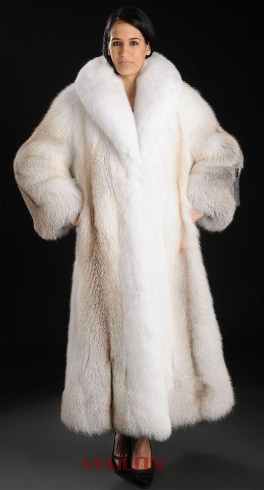 Length Fox Fur Coat, White Fox Fur Coat Collar