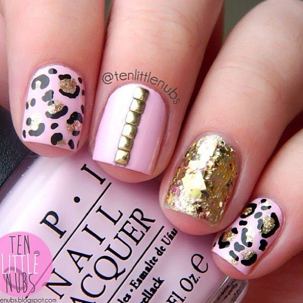 Nageldesign Nailart Rosa Schwarz Gold Nageldesign Nails Nail