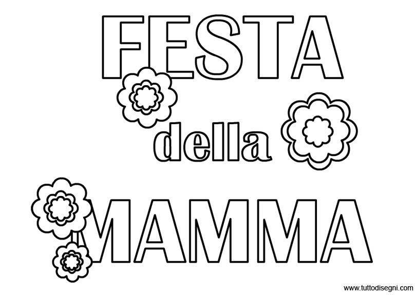 Biglietto Con Rosa Da Colorare: Festa Della Mamma: Scritta Da Colorare