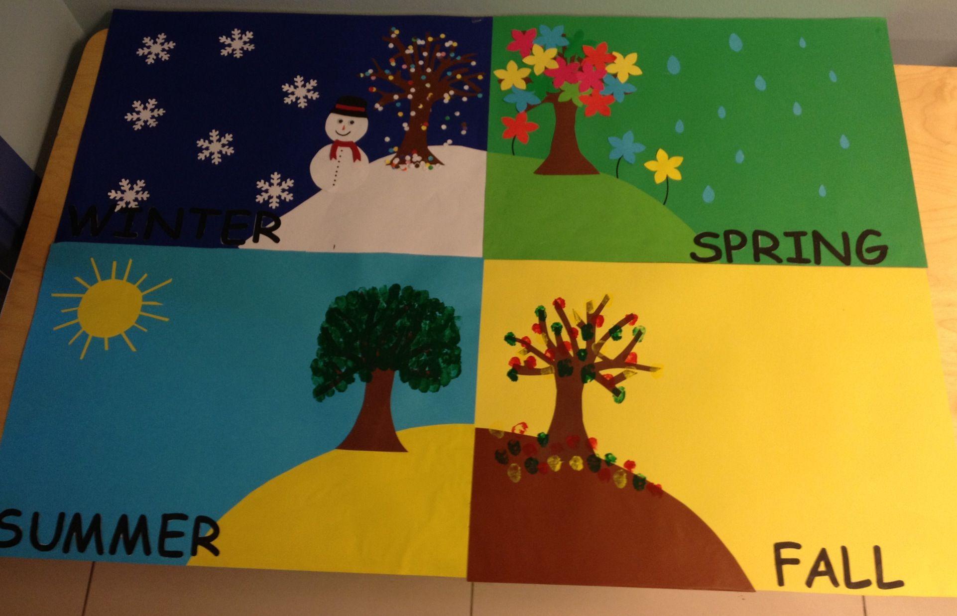Four Seasons Kids Crafts Classroom Decorations