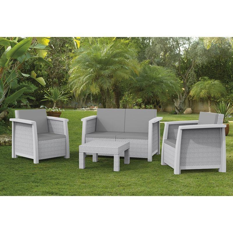 Conjunto keter ratan resina havana lounge set blanco | Keter | Ideas ...