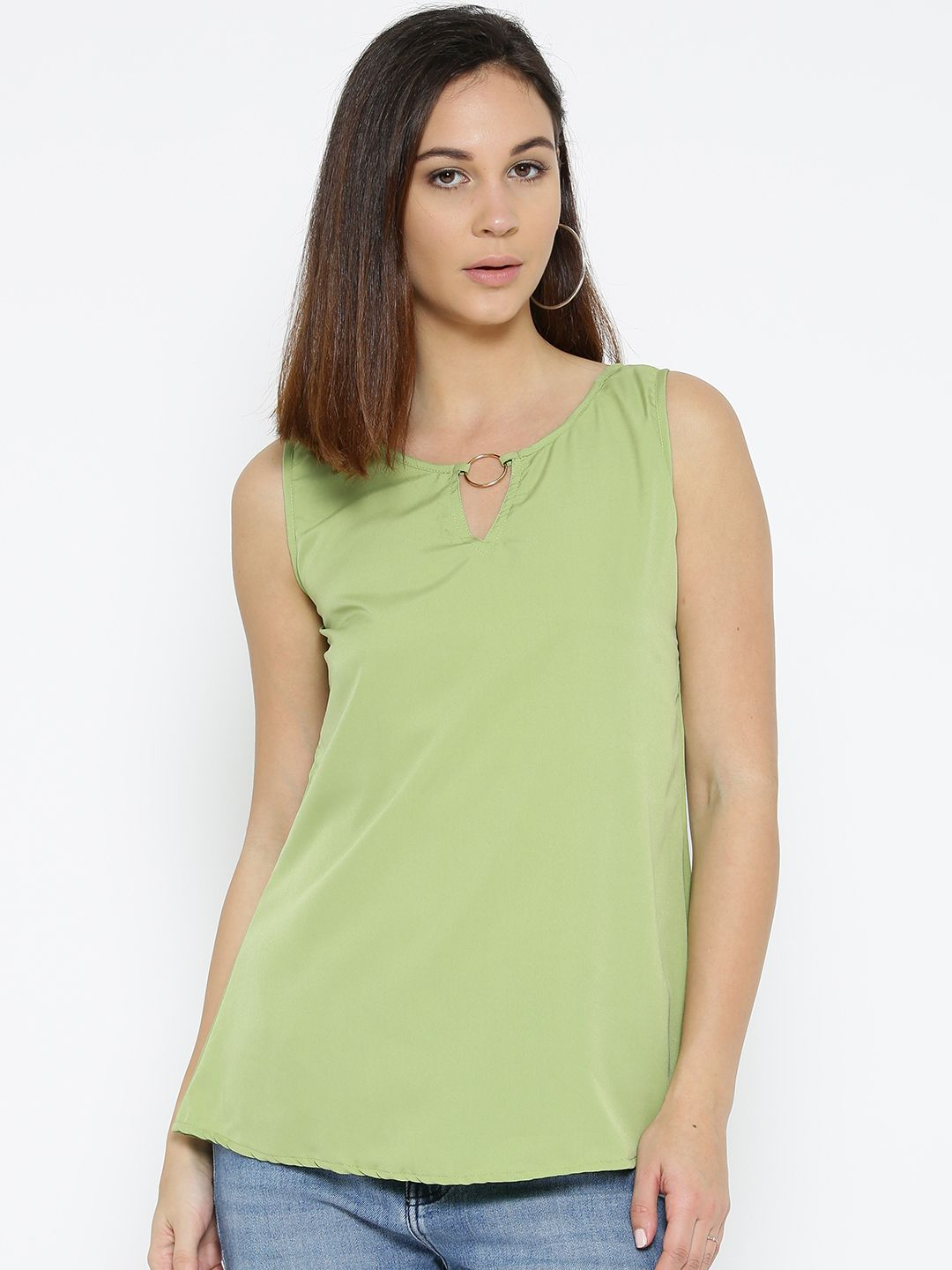 b21ee9825e4 Olive Green Solid A-Line Top | Only on saliyamohit.shopwithme.in | Best Tops  Online