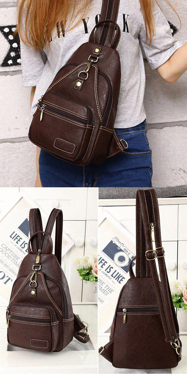 abae3d89aa Bagail Women Vintage Daily Outdoor Portable Chest Bag Crossbody Bag  Shoulder Bag Backpack