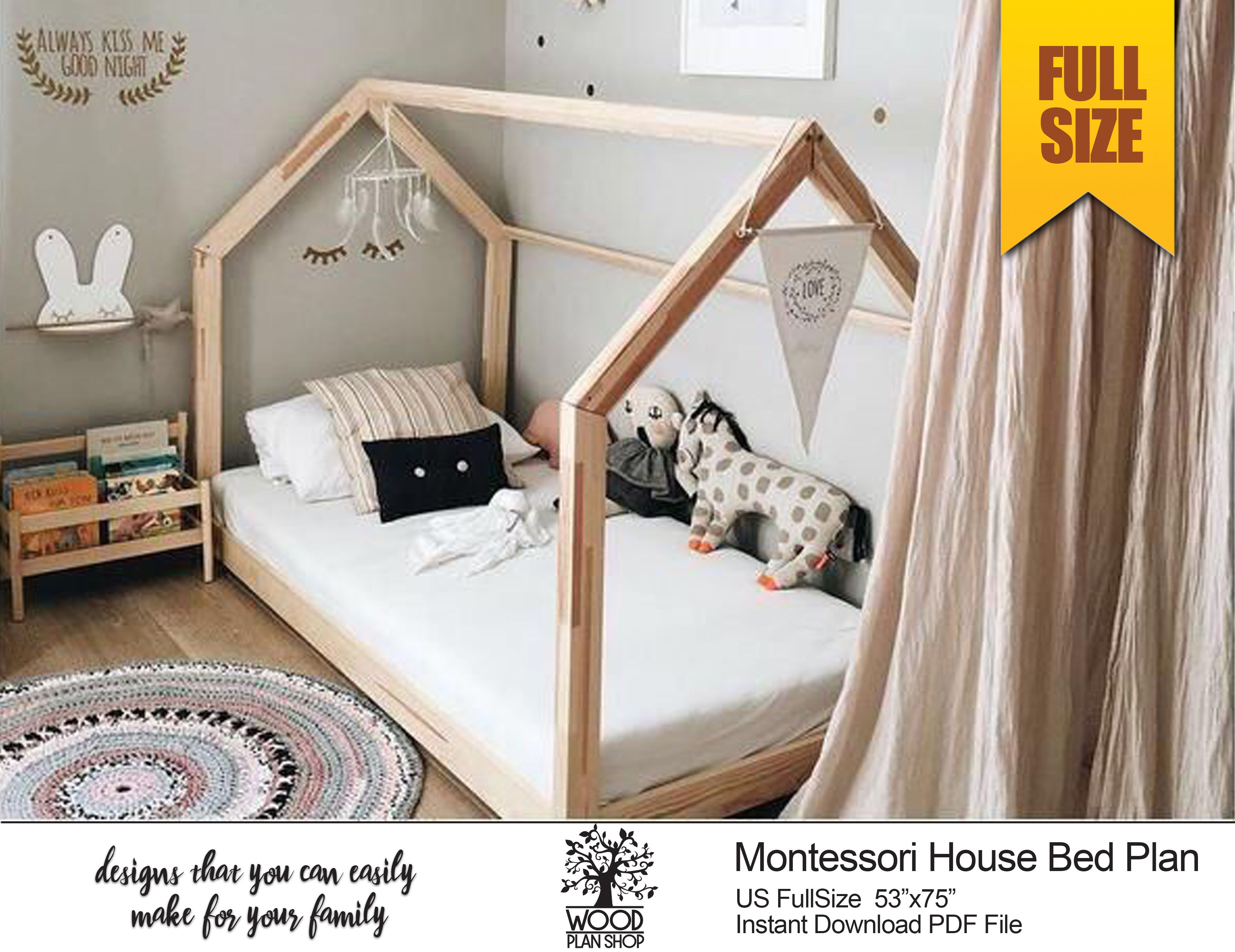 Toddler House Bed Plan Full Size Bed Frame Plan For Montessori Bedroom Diy Pdf Plan Wooden Floor Toddler House Bed Bed Plans Twin Size Bed Frame