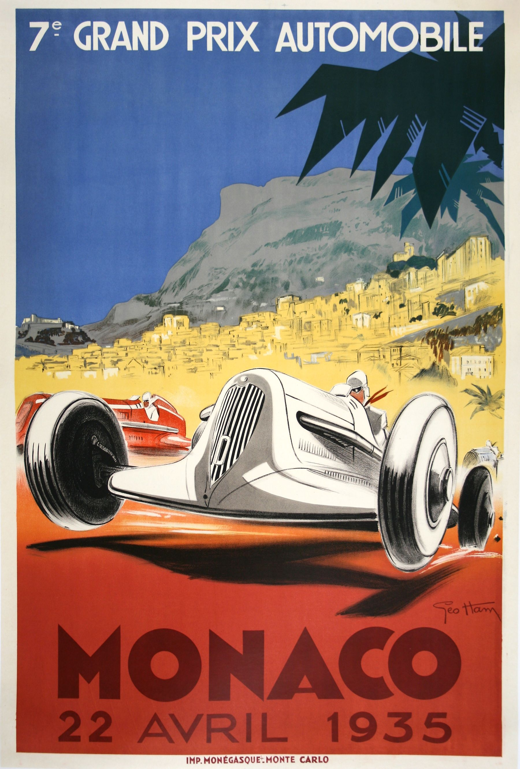 1952 Monaco Grand Prix Motor Racing Poster  A2 Reprint