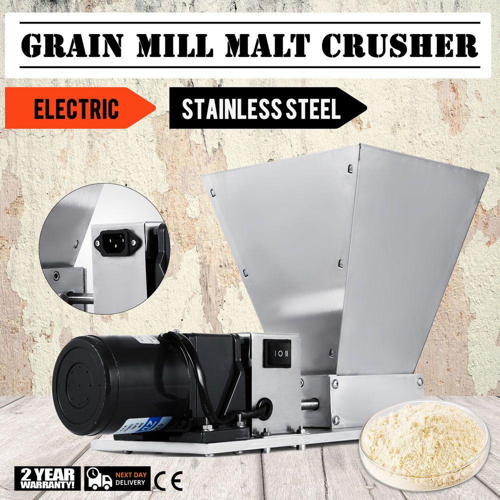 Electric Grain Mill Barley Grinder Malt Crusher Adjustable