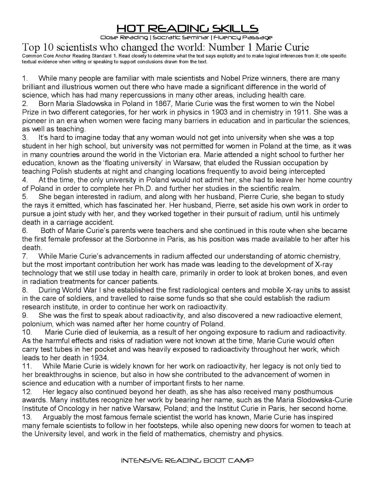 Citing Textual Evidence Worksheet Close Reading Passages