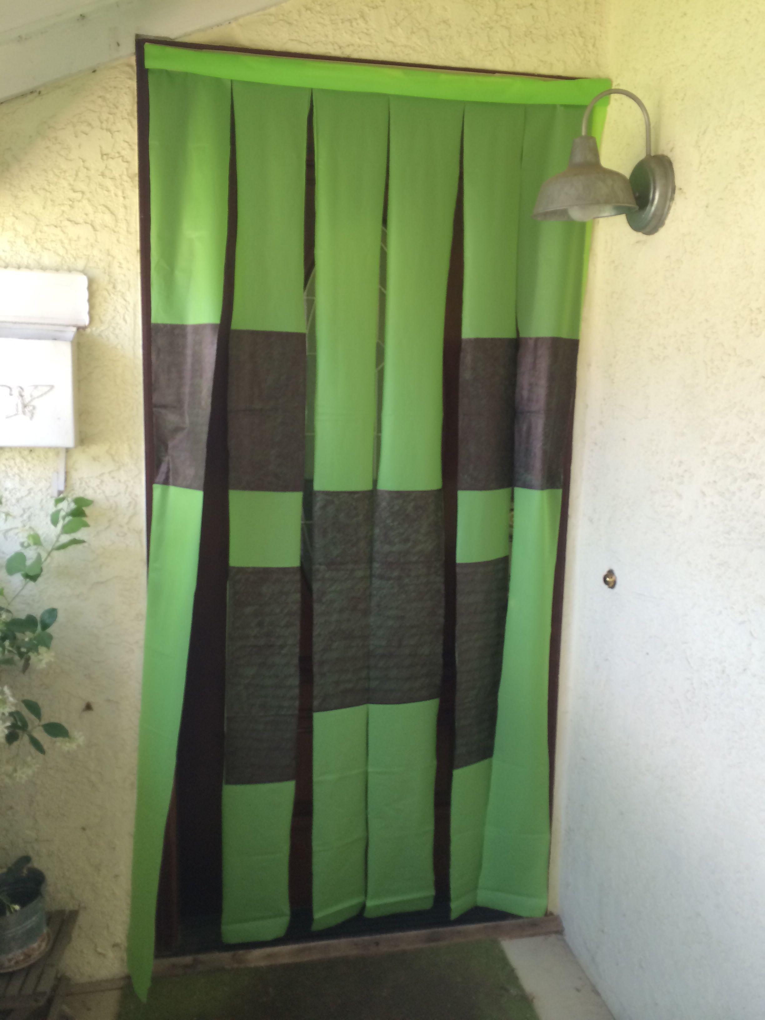 Minecraft Creeper Door Screen Lime Green Plastic Table Cloth