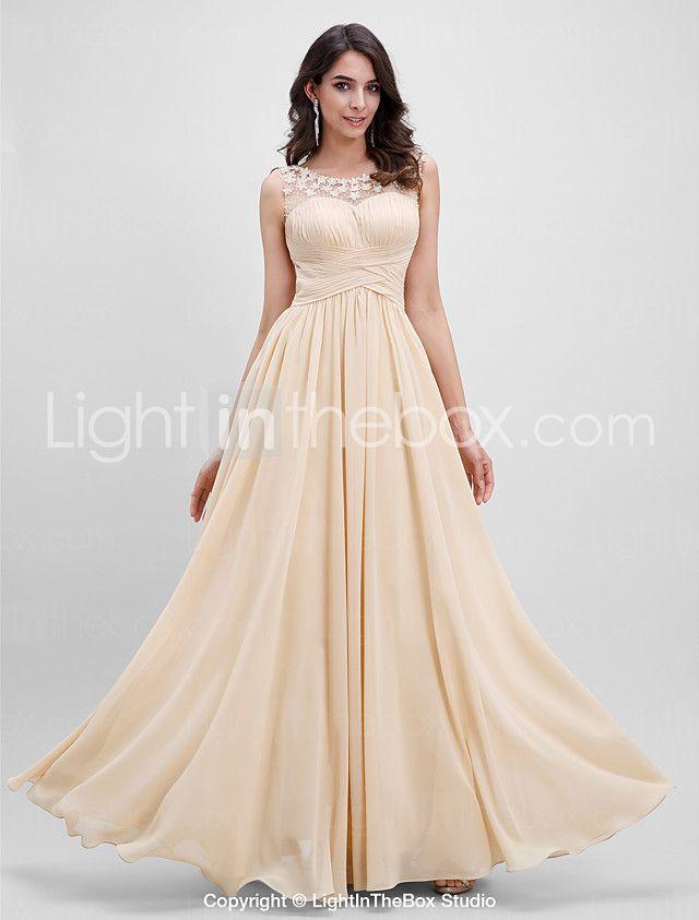 A Line Scoop Neck Floor Length Chiffon Prom Formal Evening Dress