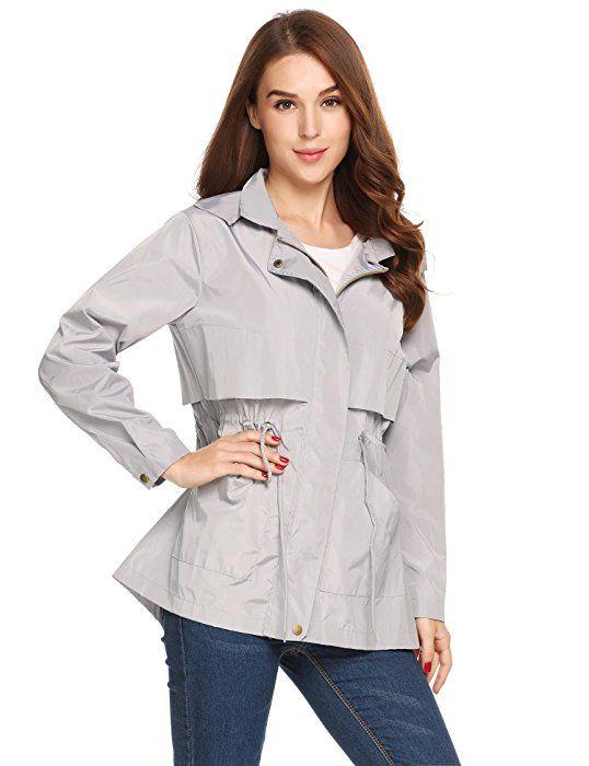d1c8f5692 Soteer Women Waterproof Lightweight Rain Jacket Anorak Active Outdoor  Hoodie Grey S