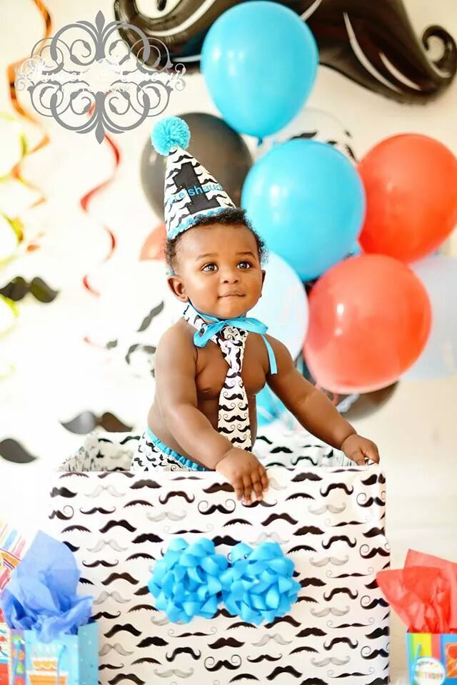 Cake Smash Outfit First Birthday In Black Mustache Turquoise Diaper Cover Tie Firts Hat