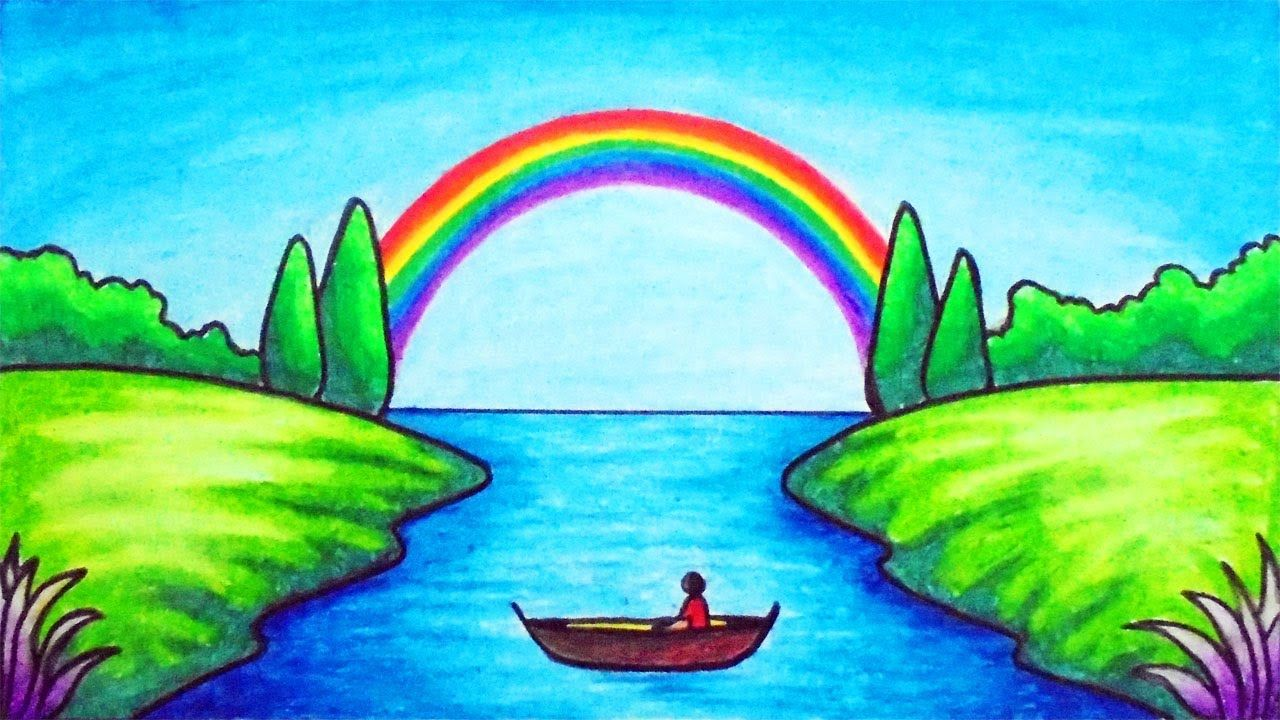 How To Draw Easy Scenery Drawing Rainbow On The River Scenery