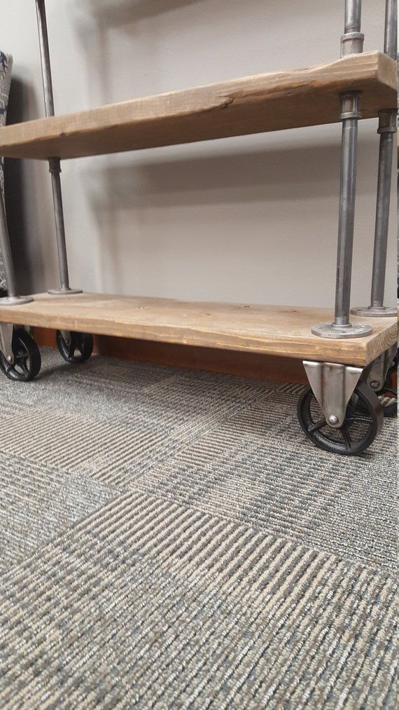 Bookcase With Casters On Wheels Rustic