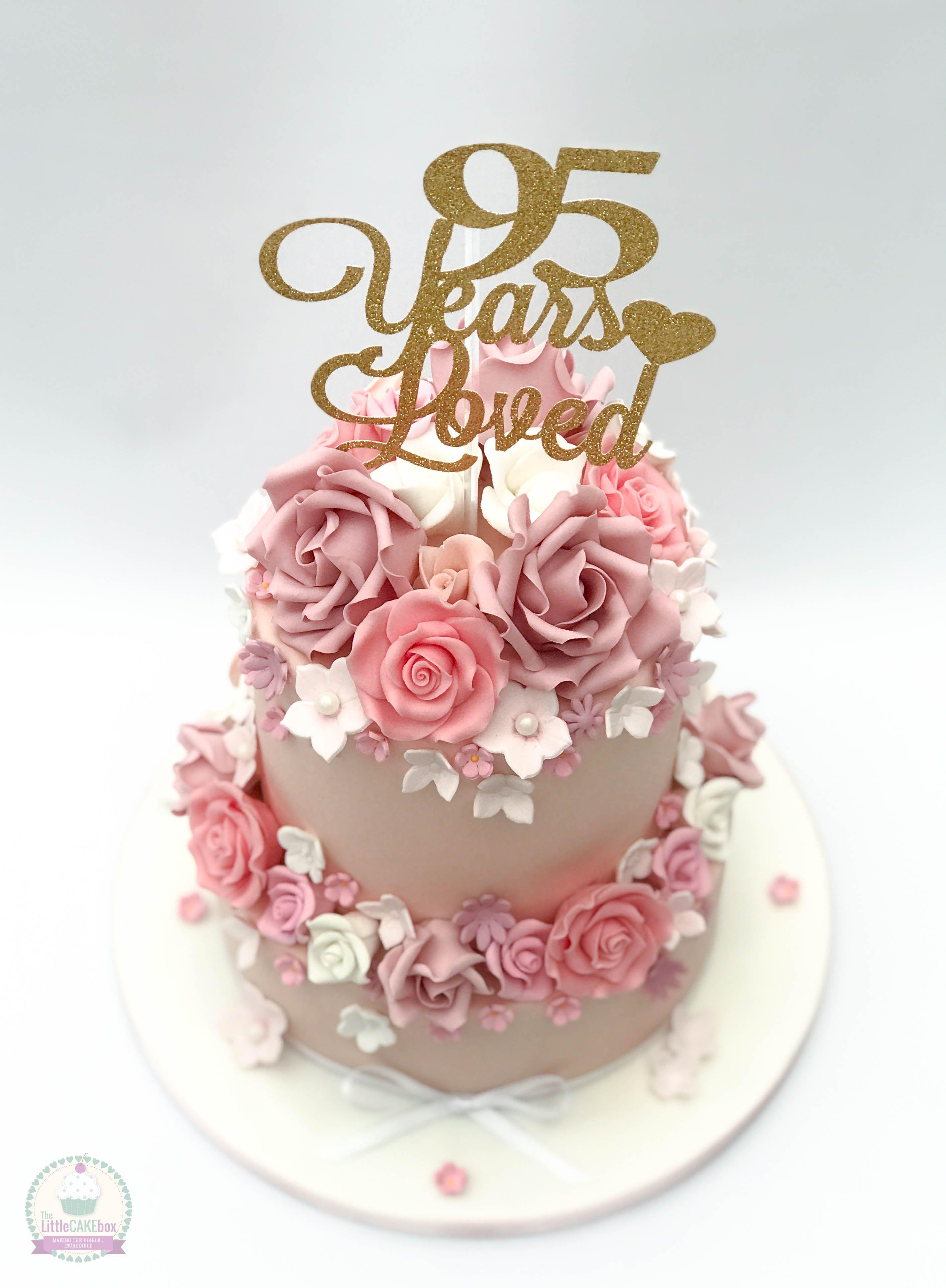 Roses 95th Birthday Cake Tortad De Fondant In 2019