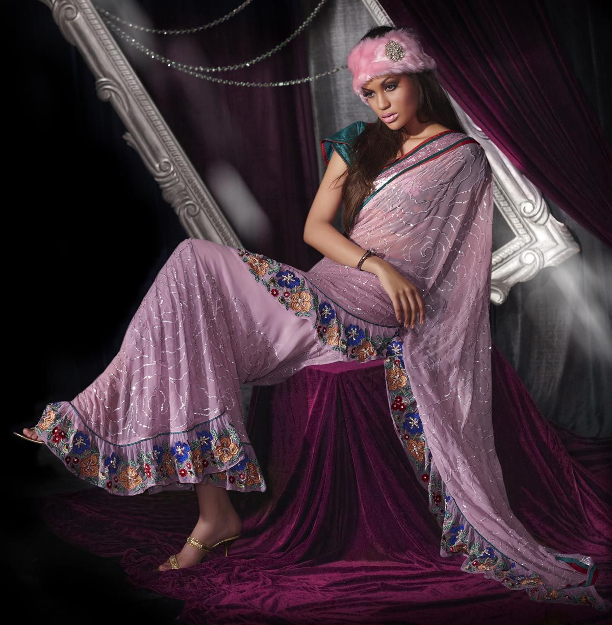 Retro style fashion saree spectacular jaal work saree light pink  things i love  pinterest