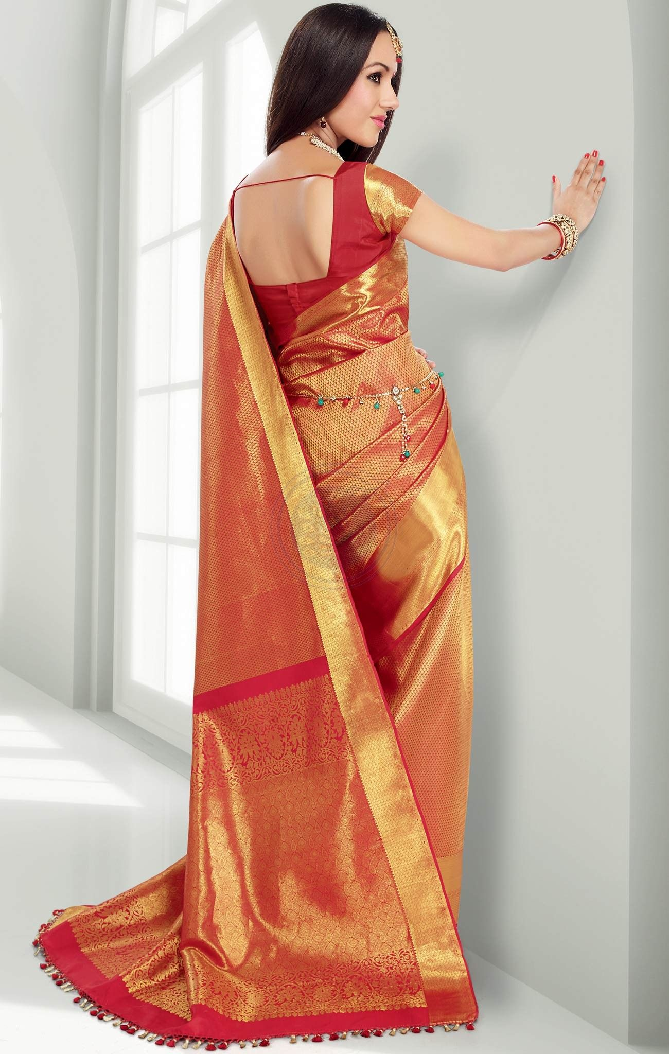 ce4de1a0dc Red pure silk saree with gold motifs throughout the saree and a wide  one-side gold border - RmKV Silks