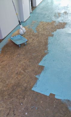 DIY Painted Particle Board Floor Mmmm Teal