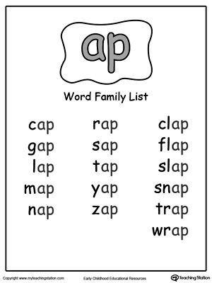 ap word family list  teaching  kindergarten  pinterest  word  free ap word family list worksheettopics word families and reading