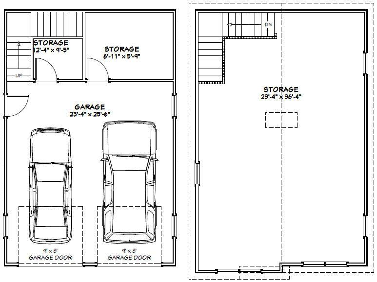 24x36 2 Car Garage 24x36g4a 1 606 Sq Ft Excellent Floor Plans Floor Plans Garage Plans House Plans