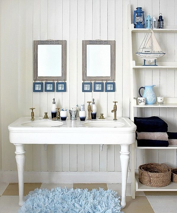 Master Bathroom With Victorian Pedestal Double Sink Console