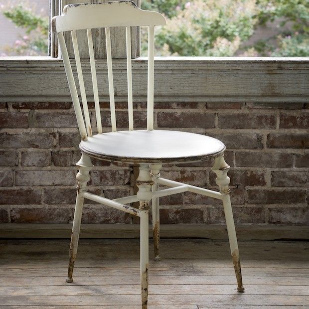 Our vintage style buttermilk cottage chairs are divine! For more metal  chairs visit Antique Farmhouse. - Buttermilk Cottage Chair, Set Of 2 Industrial Metal, Vintage