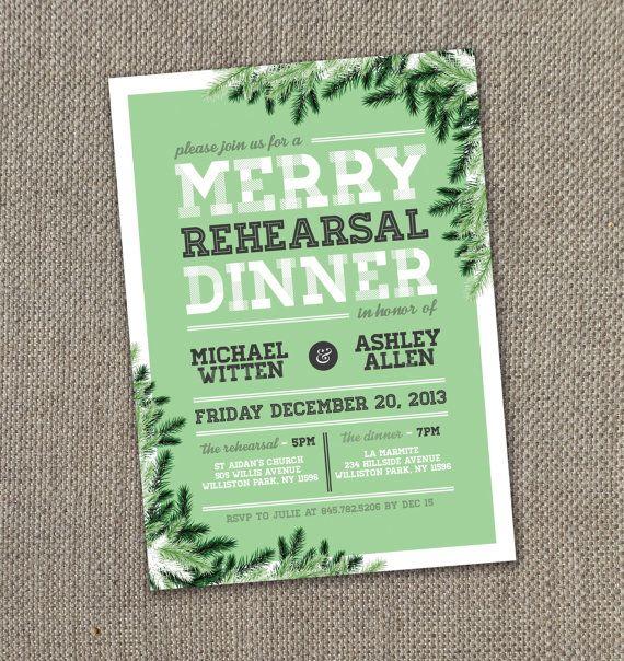Christmas wedding rehearsal dinner invitations