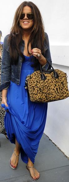 Blue maxi dress with jacket