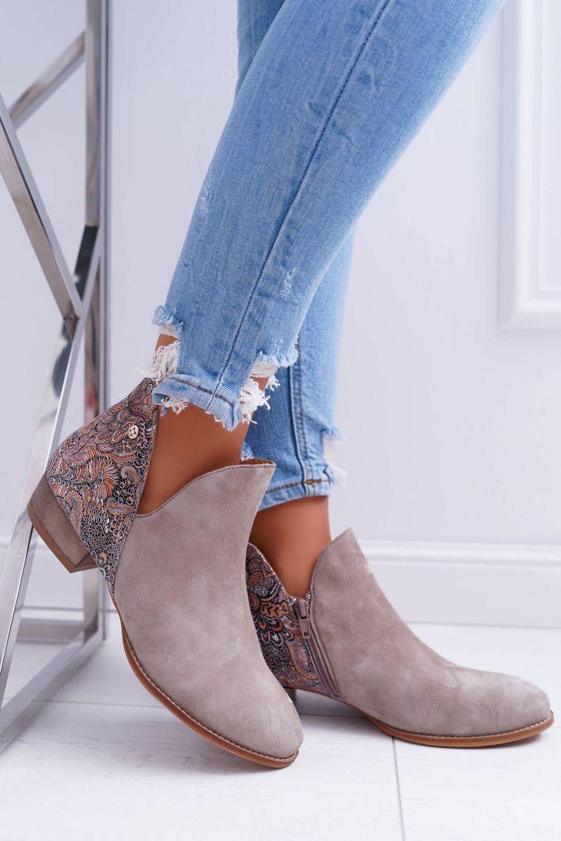 Damskie Skorzane Botki Maciejka Bezowe 04091 04 Shoes Ankle Boot Boots