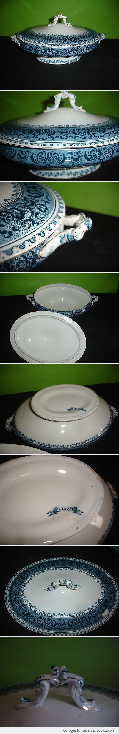 ANTIQUE VICTORIAN VEGETABLE SOUP TUREEN FLOW BLUE WHITE PORCELAIN RAISED BASE NR - Found on Lookza.com