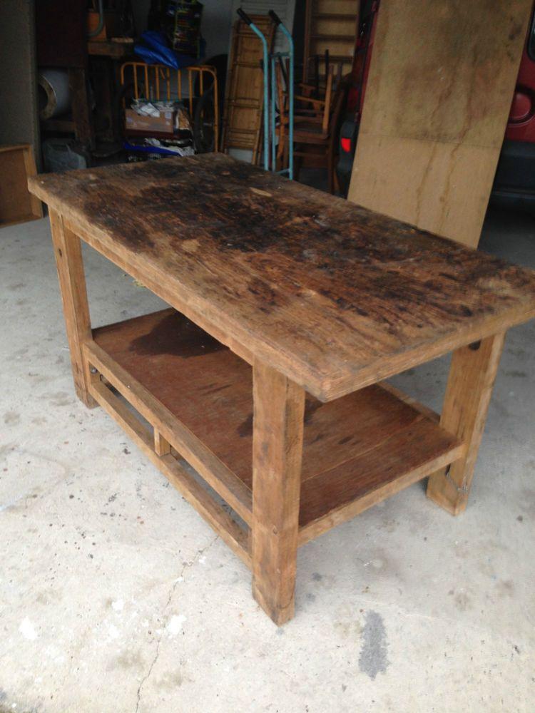 Ancien Meuble De Metier Table Etabli Bois Massif Menuisier Mobilier