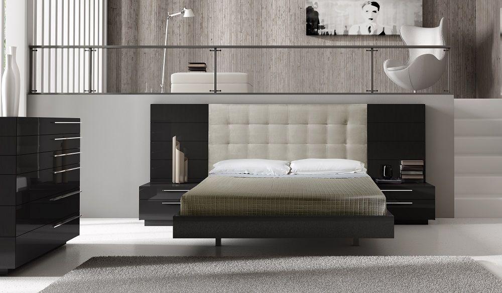 Ju0026M Furniture Santana Premium Bedroom Set In Elegant Black 18148